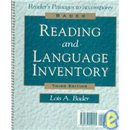 Bader Reading and Language Inventory with Booklet (Graded Reading Passages)
