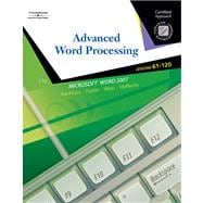Advanced Word Processsing, Lessons 61-120 Certified Approach