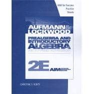 AIM for Success Student Practice Sheets for Aufmann/Lockwood's Prealgebra and Introductory Algebra: An Applied Approach, 2nd