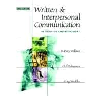 Written and Interpersonal Communication : Methods for Law Enforcement