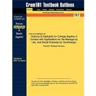 Outlines and Highlights for College Algebra in Context with Applications for the Managerial, Life, and Social Sciences by Harshbarger, Isbn : 97803215706