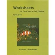Worksheets for Elementary Algebra : Concepts and Applications
